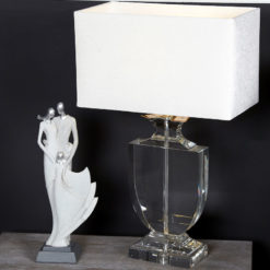 Medium Crystal Cut Glass Regency Table Lamp With White Velvet Shade