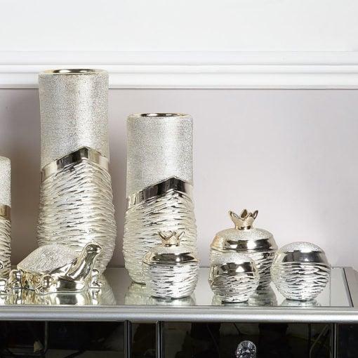 Medium Sculptured Champagne Ball Decoration Handcrafted In Ceramic