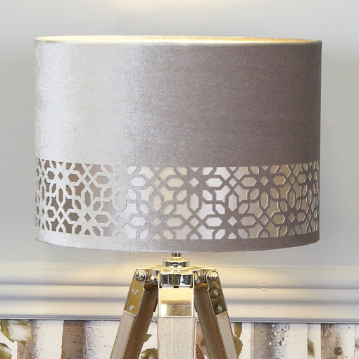 Medium Wood Tripod Table Lamp With Grey Velvet Shade