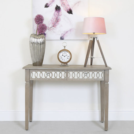 Medium Wood Tripod Table Lamp With Pink Shade