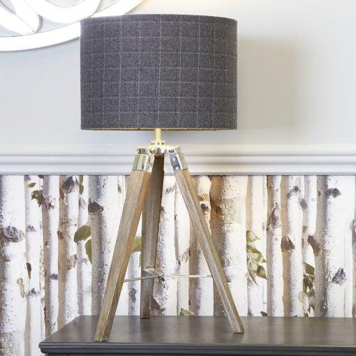 Medium Wood Tripod Table Lamp With Tartan Shade