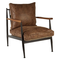 New Foundry Deep Padded Distressed Brown Leather Effect Chair