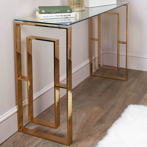 Plaza Gold Contemporary Clear Glass Console Display Table
