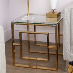 Plaza Gold Contemporary Clear Glass Side End Display Table