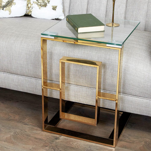 Plaza Gold Contemporary Clear Glass Sofa Table Side End Display Table