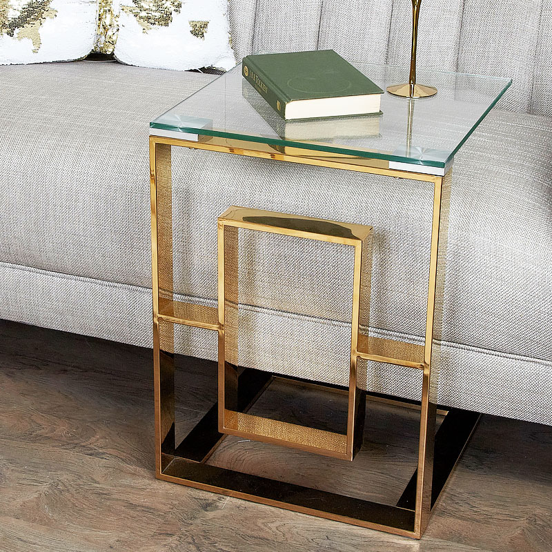 Plaza Gold Contemporary Clear Glass Sofa Table Side End