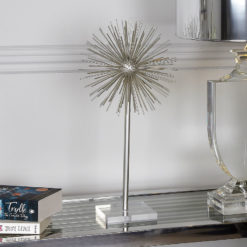 Silver Starburst Object On Stand Ornament Decoration
