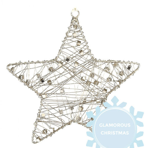 Silver Wire Star Christmas Tree Decoration 15cm