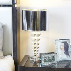 Small Illuminated Crystal Spine Shape Table Lamp With Silver Shade