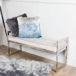 Zenn Contemporary Stainless Steel Bench With Grey Padded Tufted Seat