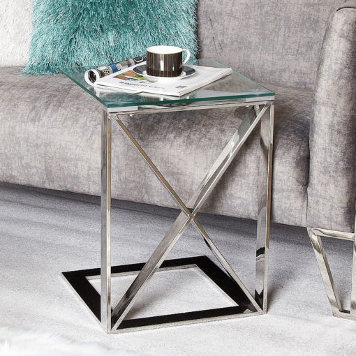 Zenn Contemporary Stainless Steel Sofa Table Side End Table