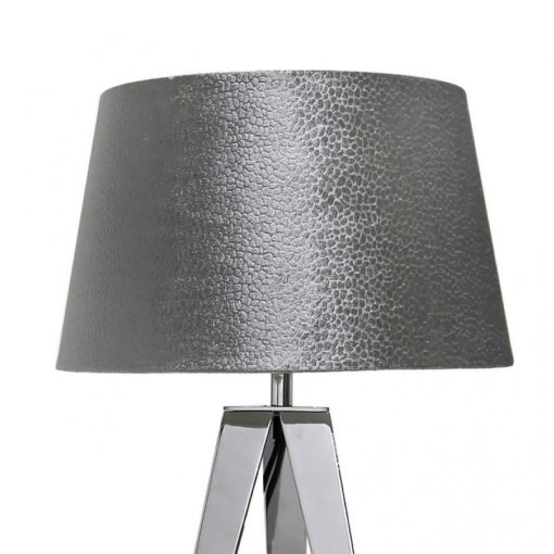 Chrome Hollywood Table Lamp With 13 Inch Grey Velvet Drum Shade