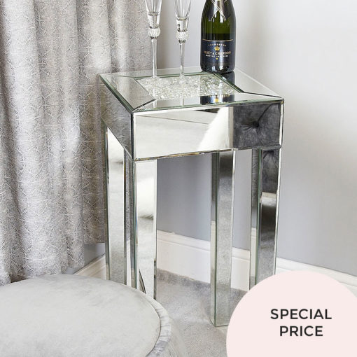 Floating Crystal Sparkling Silver Glass Mirrored End Display Table