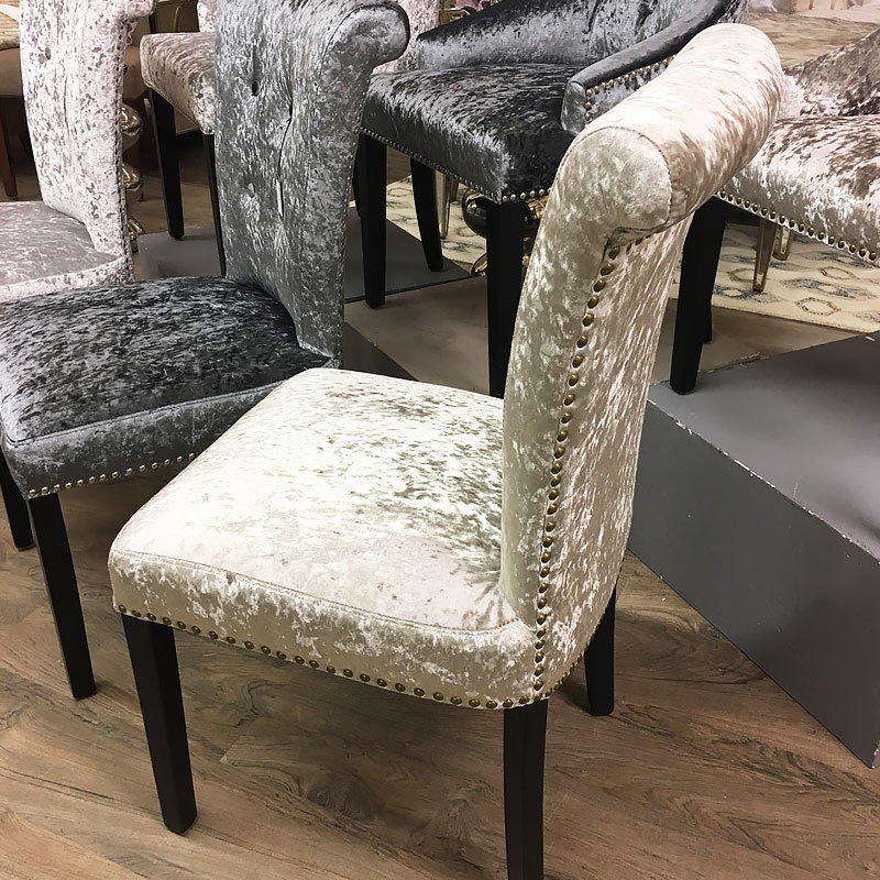 Leopold Champagne Crushed Velvet Dining Chair With A Deep Button Back Picture Perfect Home