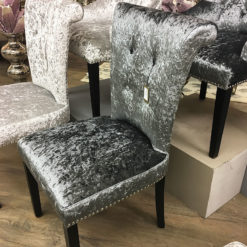 Leopold Charcoal Crushed Velvet Dining Chair With A Deep Button Back