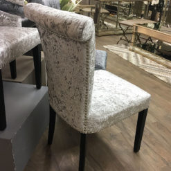 Leopold Silver Crushed Velvet Dining Chair With A Deep Button Back