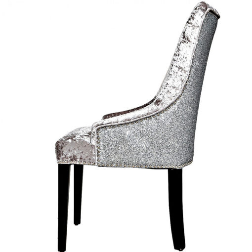 Silver Dining Armchair In Crushed Velvet With Glitter Back