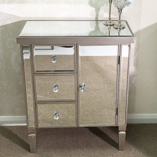 Antique Silver Trim Mirrored Chest 3 Drawers 1 Door Cabinet Cupboard