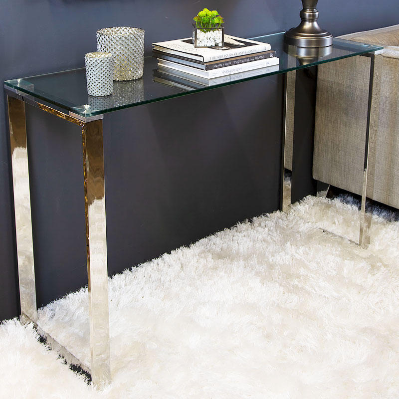 Harper Contemporary Stainless Steel Clear Glass Console Display Table Picture Perfect Home - Display Sofa Table