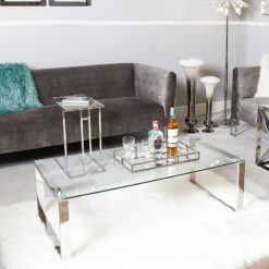 Harper Contemporary Stainless Steel Clear Glass Lounge Coffee Table