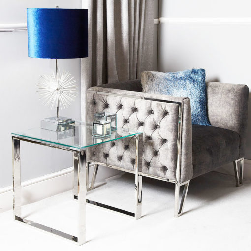 Harper Contemporary Stainless Steel Clear Glass Side End Display Table