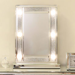 Diamond Glitz Hollywood Dressing Table Mirror With 6 LED Light Bulbs
