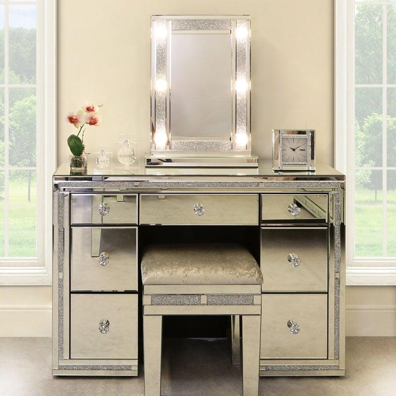 Diamond Glitz Hollywood Dressing Table Mirror With 6 Led