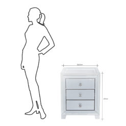 Madison Grey 3 Drawer Mirrored Display Bedside Cabinet With Clear Top
