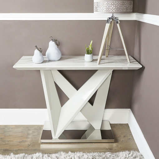 Blanche Marble Effect Console Table With A Chrome Foundation