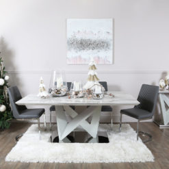 Blanche Marble Effect Dining Table And 6 Grey Faux Leather Chairs Set