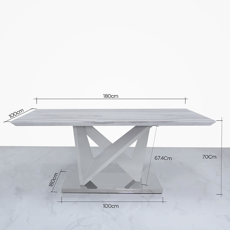 Blanche Marble Effect Dining Table And 6 Grey Faux Leather