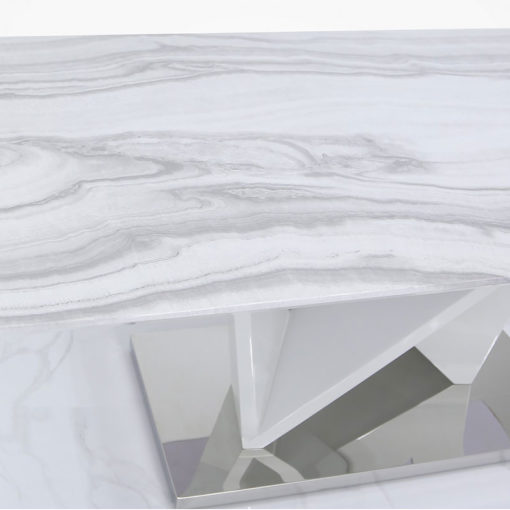 Blanche Marble Effect Dining Table With A Chrome Foundation