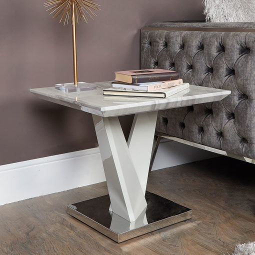Blanche Marble Effect End Side Table With A Chrome Foundation