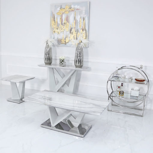 Blanche Marble Effect Lounge Coffee Table With A Chrome Foundation