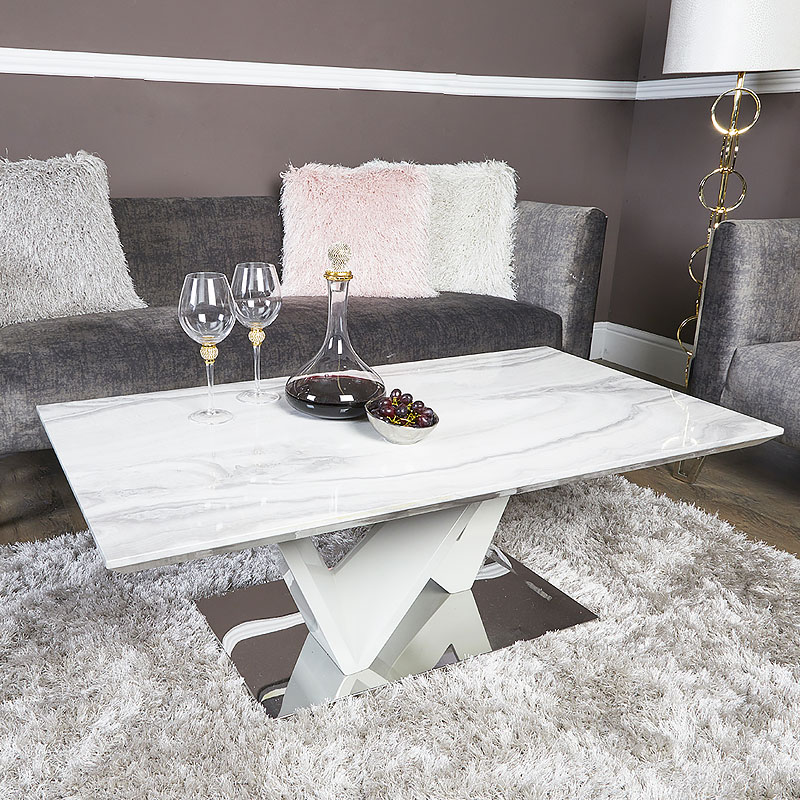 Blanche Marble Effect Lounge Coffee Table With A Chrome Foundation Picture Perfect Home