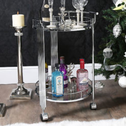 Colton Contemporary Chrome And Clear Glass Drinks Trolley