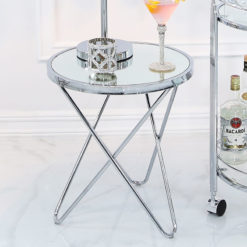 Colton Contemporary Chrome And Clear Glass End Side Table