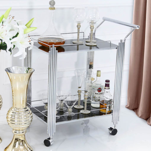 Colton Contemporary Chrome And Black Glass Drinks Trolley