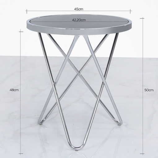 Colton Contemporary Chrome And Black Glass End Side Table