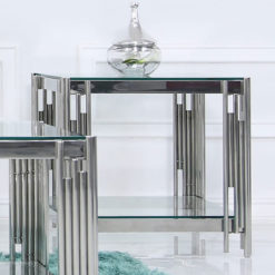 Colton Contemporary Stainless Steel And Clear Glass End Side Table