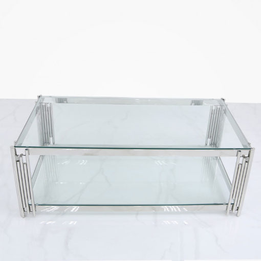 Colton Contemporary Stainless Steel And Glass Coffee Table
