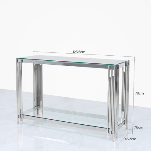 Colton Contemporary Stainless Steel And Glass Dressing Console Table