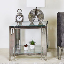 Colton Modern Stainless Steel And Clear Glass End Side Display Table