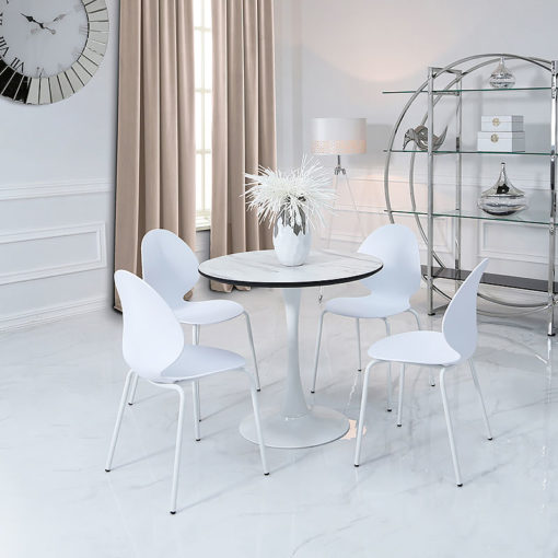 Dakota Dining Table With A Marble Effect Top And 4 White Chairs Set