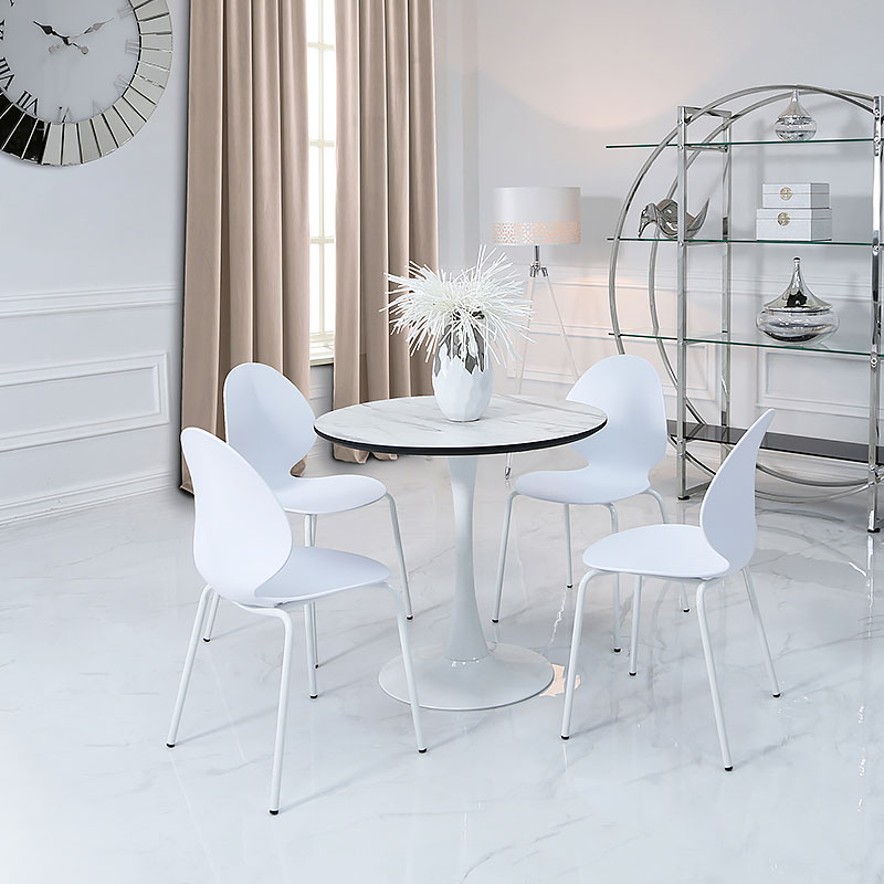 Marble Effect Coffee Table Uk: Dakota Dining Table With A Marble Effect Top And 4 White