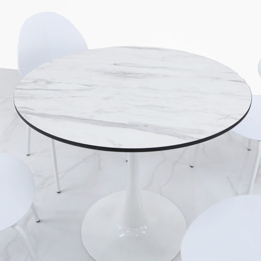 Dakota White Round Dining Table With A Marble Effect Glossy Table Top