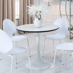 Dakota Round Dining Table With A Marble Effect Glossy Table Top