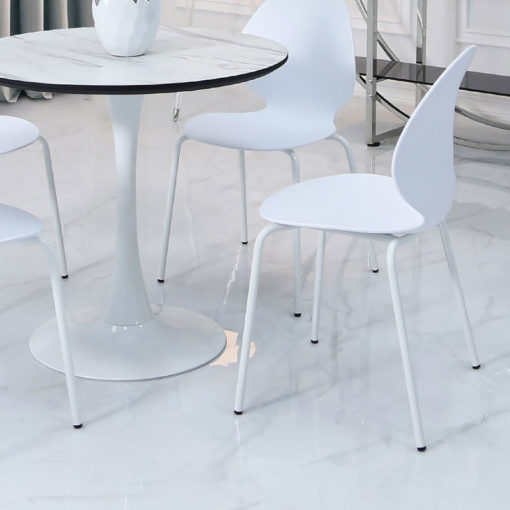 Dakota White Dining Chair With Shell Style Seat And Metal Legs