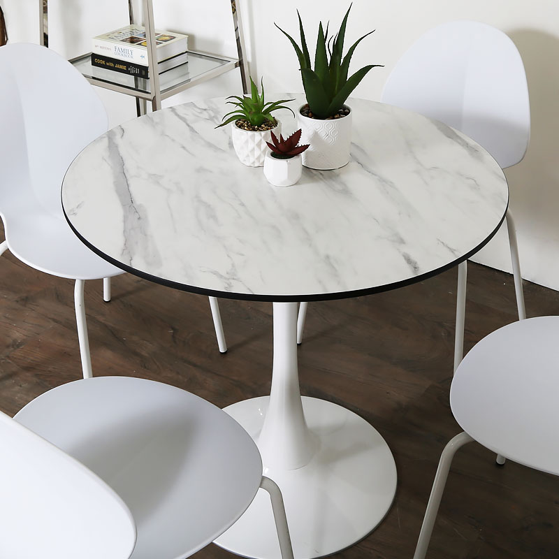 Dakota White Round Dining Table With A Marble Effect ...