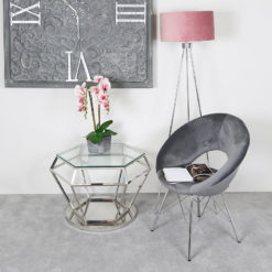 Fleur Hexagon Silver Stainless Steel Lounge Coffee Table Display Table